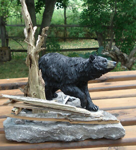3-D Hand Crafted Black Bear Table Sculpture Belleville Belleville Area image 1