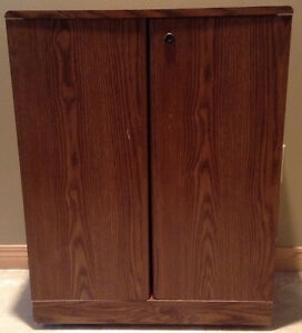 Wooden DVD/VHS Cabinet with Swing-Open Doors