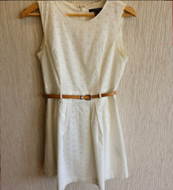 Forever 21 White Dress with Brown Belt