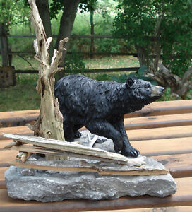 3-D Hand Crafted Black Bear Table Sculpture Kingston Kingston Area image 1