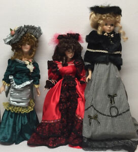 Three Beautiful Porcelain Dolls