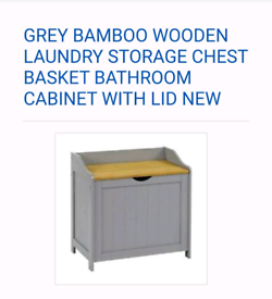 GREY BAMBOO WOODEN laundry storage chest