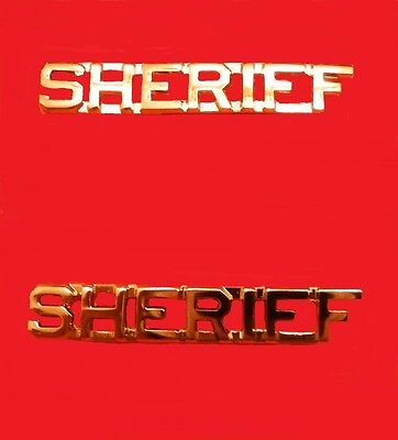 sheriff collar pin set cut out letters department insignia rank gold 2206 new