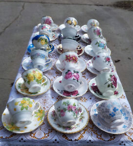 VINTAGE TEA CUPS & SAUCERS -GREAT CONDITION- BONE CHINA $8 EACH