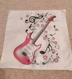 Guitar themed cushion cover