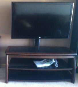 """55"""" TV stand with mount arm, glass shelves, pristine condition"""