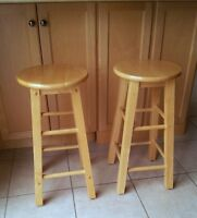 LIKE NEW SOLID OAK WOOD BAR STOOLS - SET OF 2
