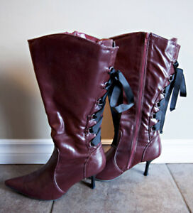 dark red LACE UP BACK boots