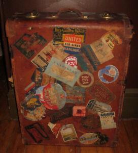Antique Cowhide Travel Trunk