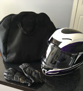 Ladies Motorcycle jacket, helmet and gloves