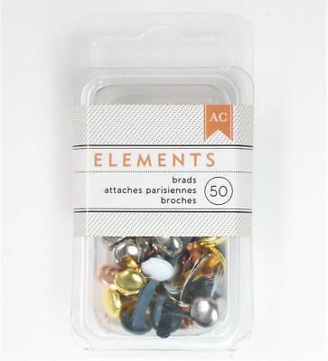 American Crafts Elements METALLIC Medium Brads 8mm 50/pk Gold Silver (American Crafts Elements Brads)