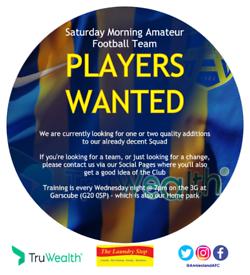 PLAYERS WANTED- Saturday Morning Mens Amateur Football