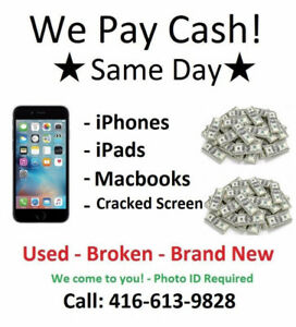 CASH FOR IPHONES, IPADS AND MACBOOKS! - We come to you !!!