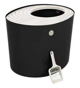 New Top Entry Cat Litter Box, Black & White