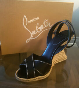 Christian Louboutin  wedges, black and tan.  Size 8