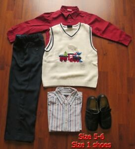 Boy's Holiday outfit Size 5-6 and black shoes size 1 youth