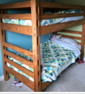 Heavy duty solid wood twin over twin with mattresses