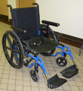 "20"" Wide Blue Folding Manual Wheelchair"
