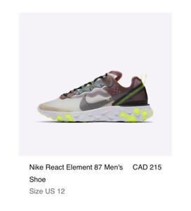 NIKE REACT ELEMENT 87 GREEN DESERT SAND Size 12