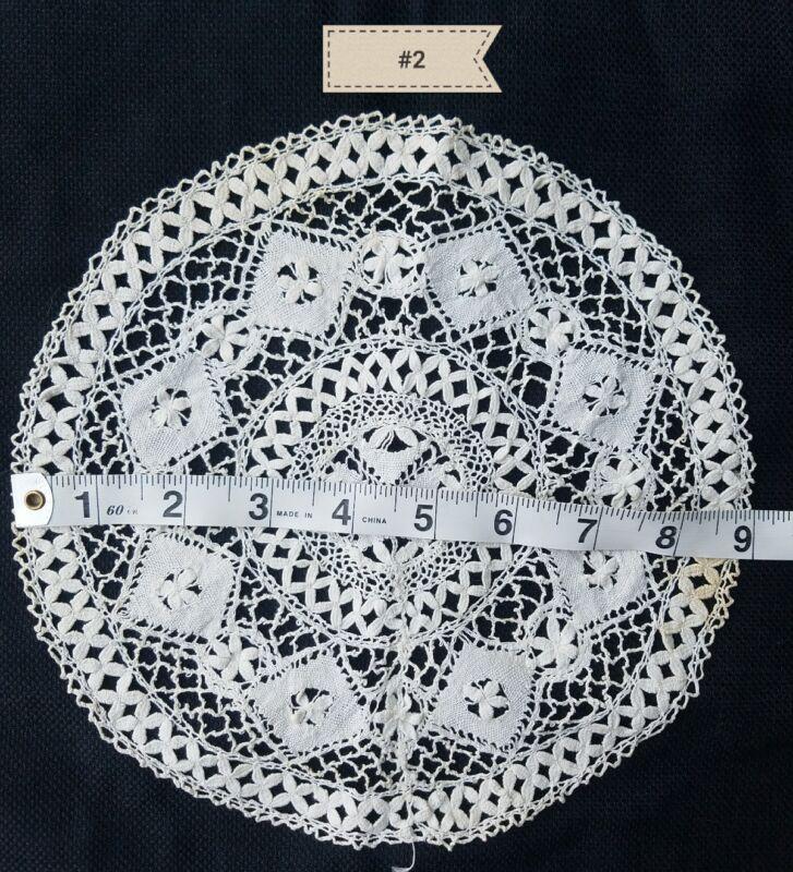 Antique Doily Maltese Lace Small Round Home Decor Primitive Medallion A14