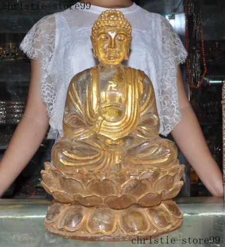 Tibet Buddhism Crystal Gilt Lotus Tathagata Shakyamuni Sakyamuni Buddha Statue