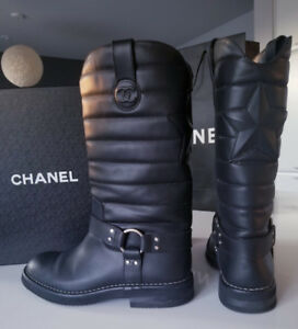 Chanel Quilted Leather Star Harness Motorcycle Boots - Size 39/9