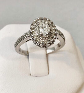 14K White Gold Halo Diamond Engagement Ring /Certified at $3,200