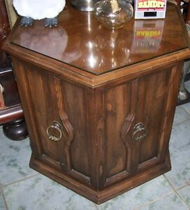 Vintage Walnut lamp end table with great storage  underneath