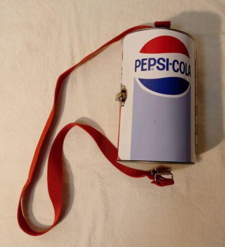 Pepsi Cola Soda Can Purse Lunch Box Latch Tin w/ Strap FREE SHIPPING!