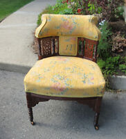 Antique Carved Barrel Back Chair on Casters