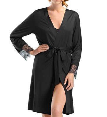 *BNWT* Hanro Womens Micromodal & Silk Robe with Jacquatronic Lace Panel 6269