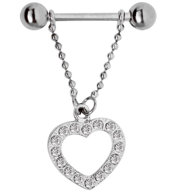 Set da 2 Piercing Capezzolo Pesi liberi con catena+Ciondolo a forma di cuore con