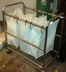 Chrome Rolling Laundry Cart