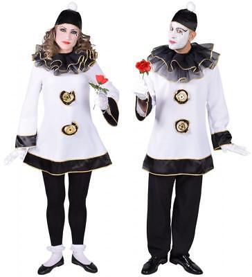 Clown Pierrot Harlekin Kostüm Kleid Herren Damen Kasper Clownkleid - Herren Clown Kostüm