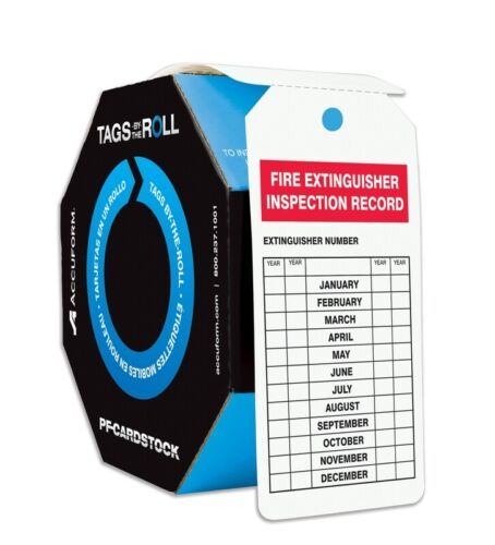 Accuform Safety Tags by The Roll, Fire Extinguisher Inspection Record, 100 PC