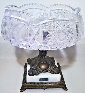 Vintage Ornate Italian Pedestal Etched Crystal Fruit Bowl