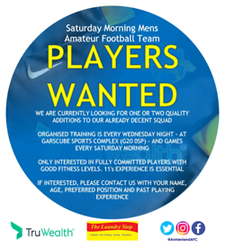 PLAYERS WANTED - GLASGOW BASED MENS SAT. MORNING AMATEUR FOOTBALL
