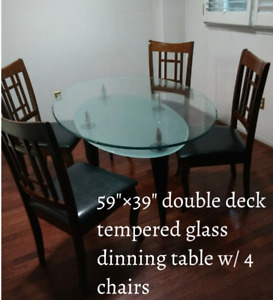 Oval Glass Dining Table w/4 Chairs