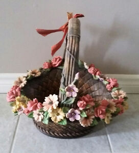 Decorative clay basket floral planter pot indoor outdoor use