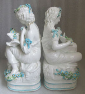PAIR ANTIQUE SOFT PASTE PEARL WARE FIGURINES MAIDEN w DOVE AS IS