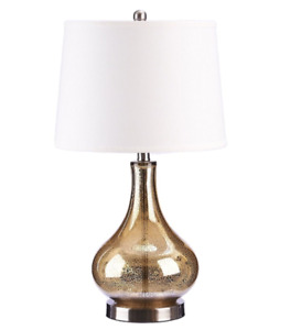 Brand New Catalina Gold Glass Table Lamp with Beige Linen Shade