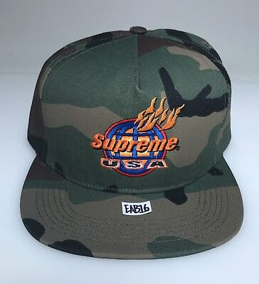 Supreme USA Camo Woodland 5-Panel Hat Fire Camouflage Flames SnapBack Cap