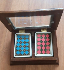 Playing cards with wooden box