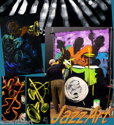 Huge Amazing E.J. Gold Jazz Art Stage Backdrops Painting 7 x 11 foot