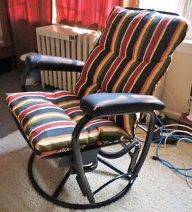 Reclining rocker/glider chair with footstool
