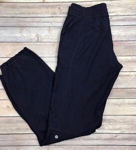 LULULEMON Dog Runner Lined Pants Dark Purple Black Swan Zip Pock