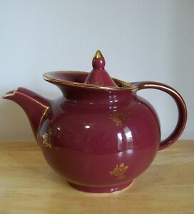 Vintage #693 Hall WINDSHIELD TEAPOT 6 Cups BURGUNDY/ GOLD