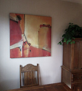 Abstract dining room or living room picture on canvas wood frame