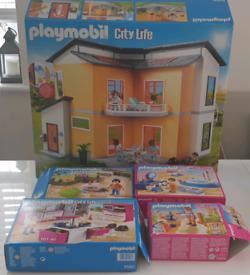 Playmobil Modern House 9266 Bundle Inc. 4 Room Sets, level extension