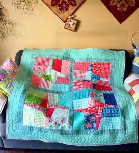 "Sweet Windmill Quilt 51"" Square Throw Lap Quilt Baby Quilt"